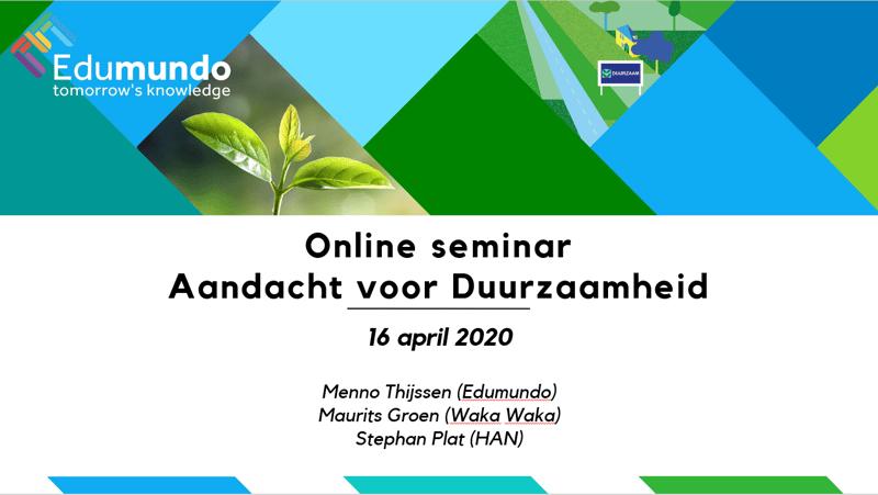 Online Seminar over duurzaamheid terugkijken