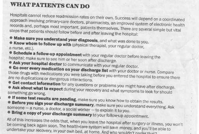 How Patients can Avoid Readmissions