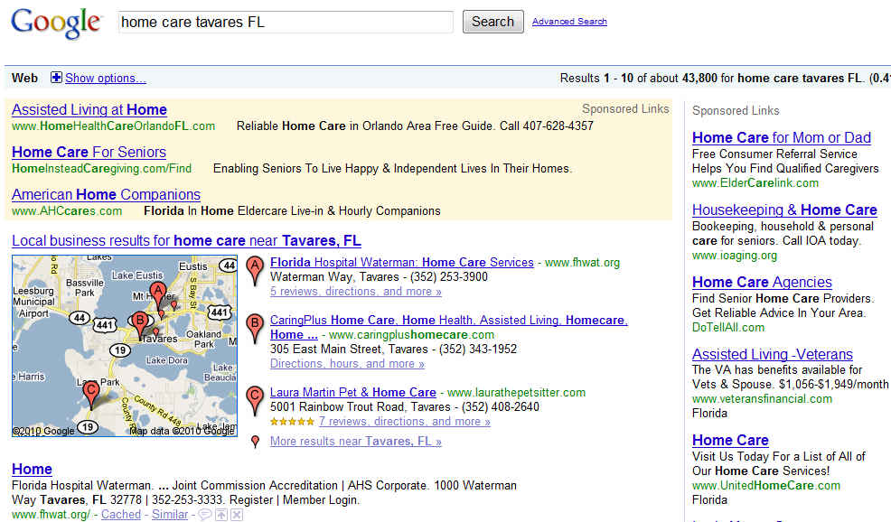 Google Search for Home Care