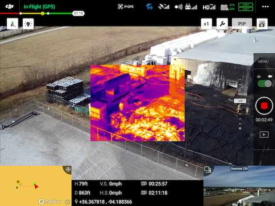 Drone Crystal Sky thermal overlay in industrial fire