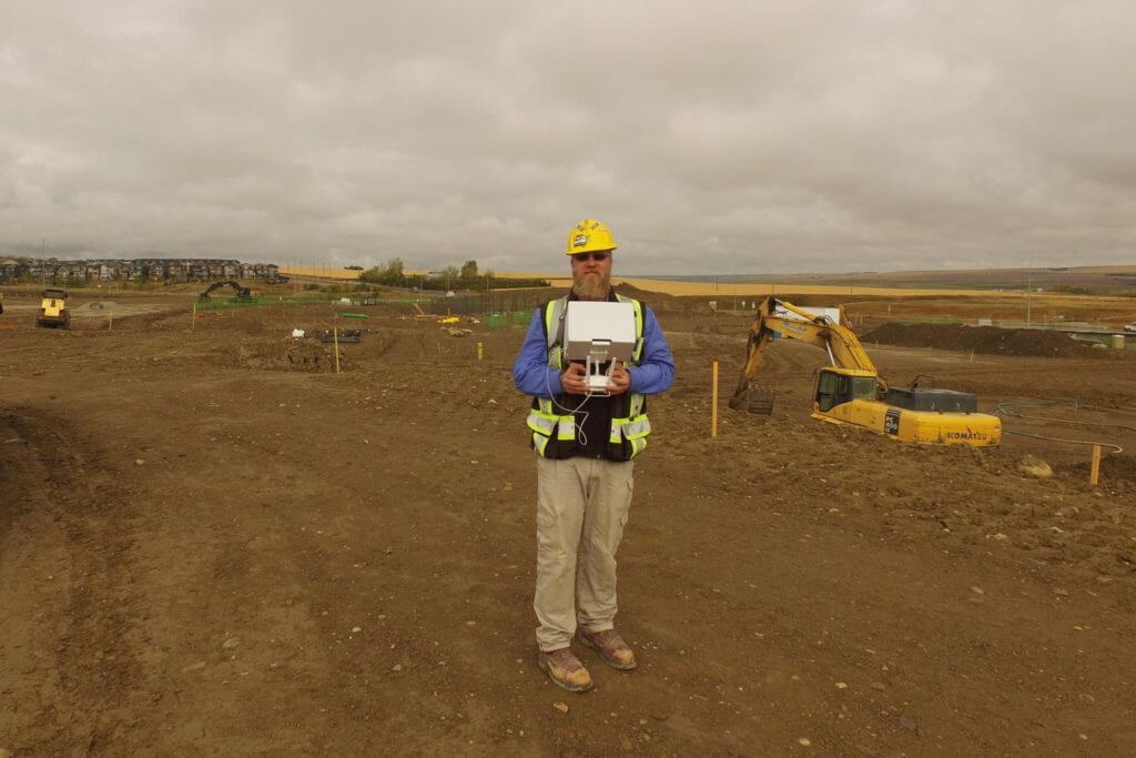 Flying a drone at a construction site