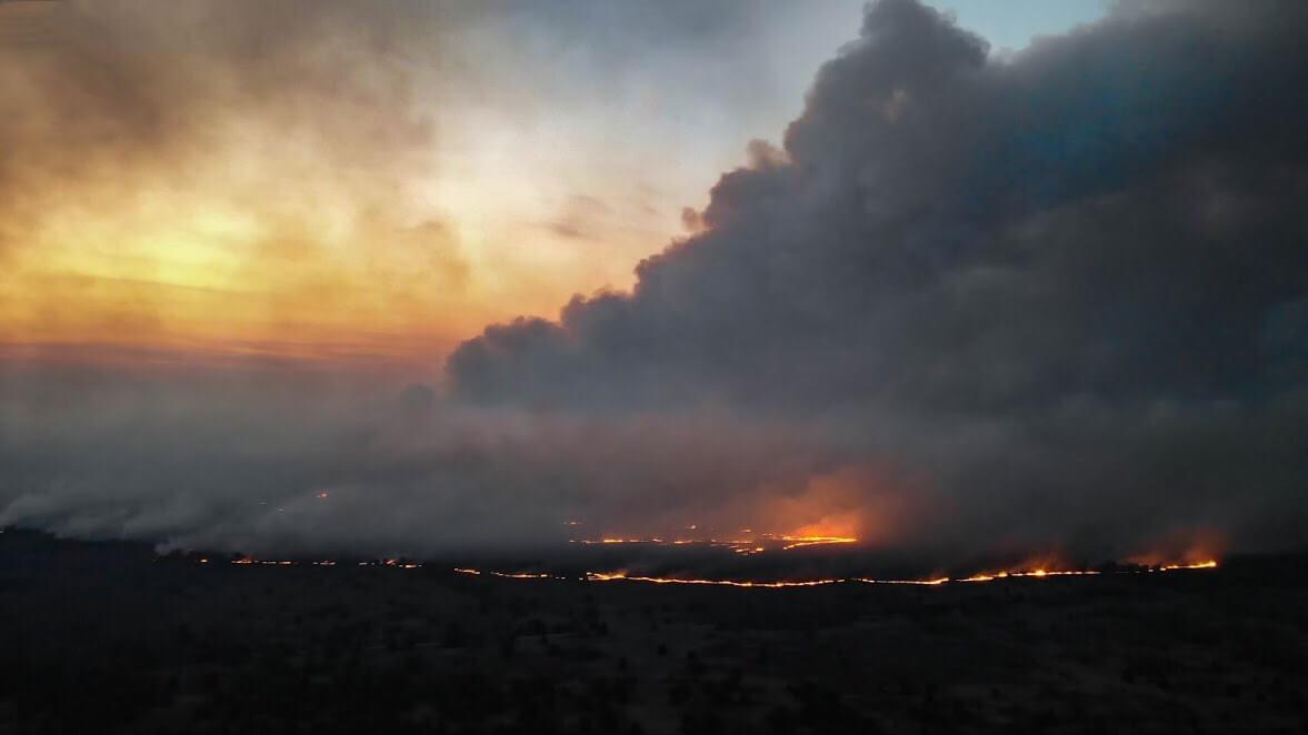 Black smoke blocked visual views of the area
