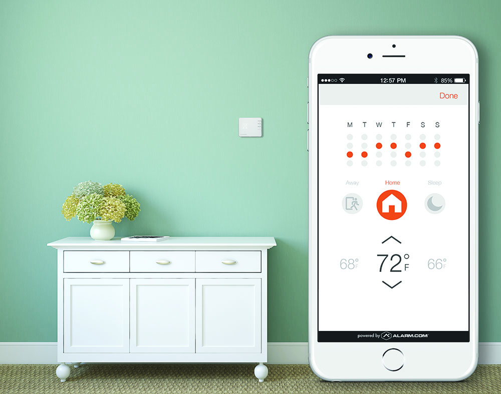 Alarmcom_Smart_Thermostat_on_wall
