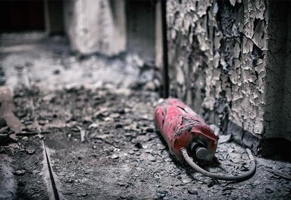 Burnt fire extinguisher
