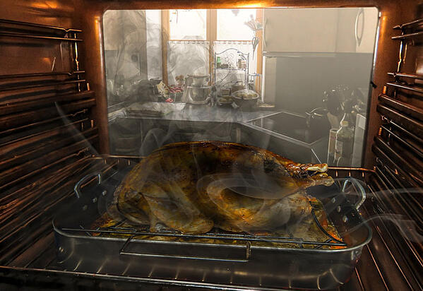 Fire and smoke in oven