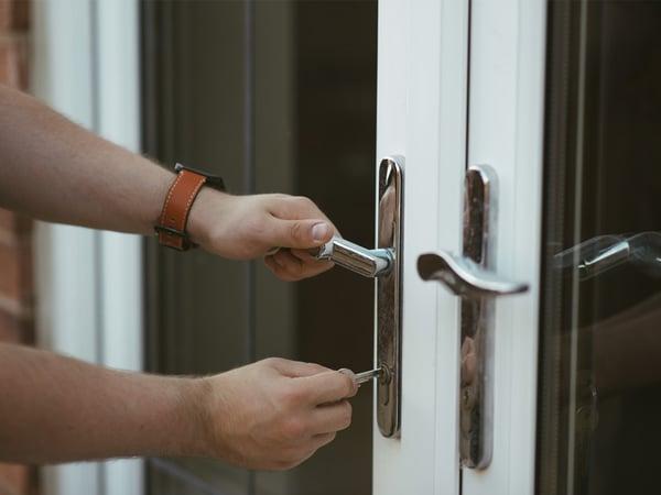 Lock doors to prevent a burglary