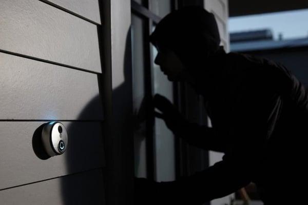 Surveillance Camera catching an intruder.