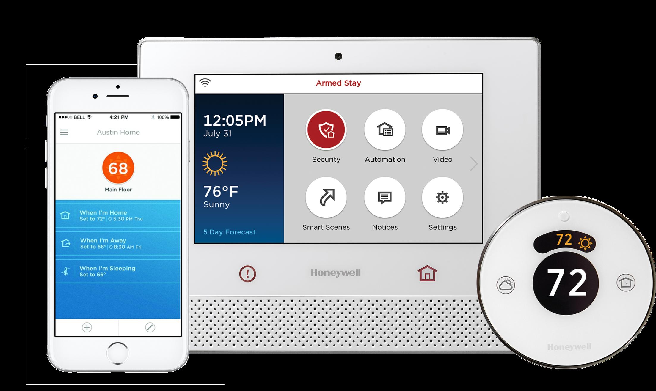 Honeywell Lyric Controller, smartphone app and thermostat