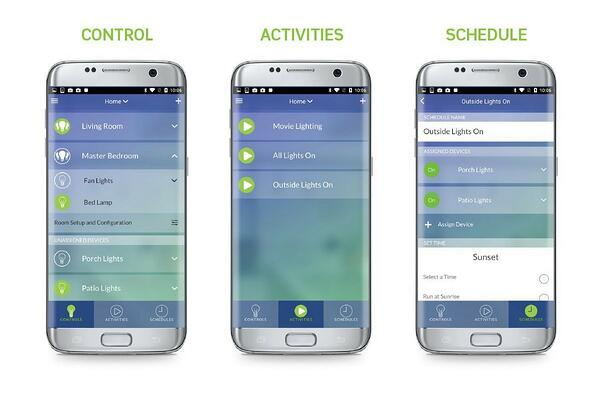levels with home automation tools through smartphone appcontrol light