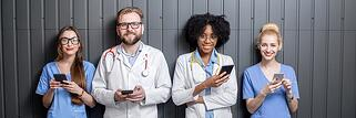 medical team on cellphones
