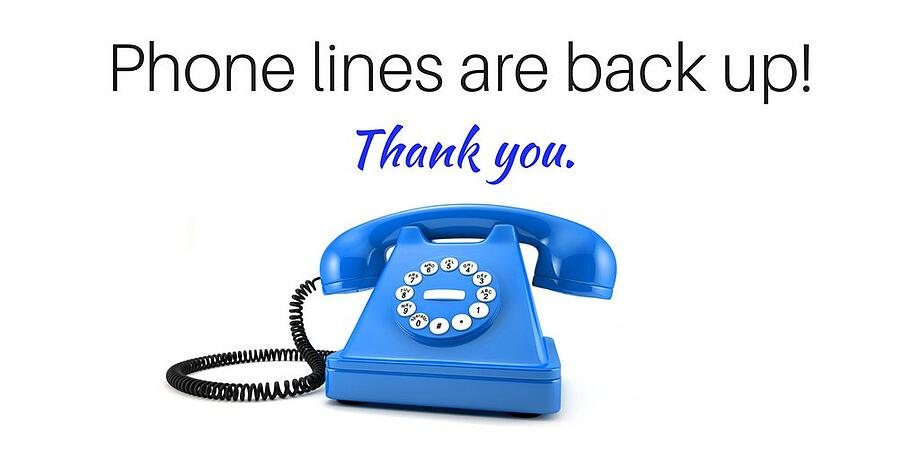 Phones back up and running. Thank you for your patience.