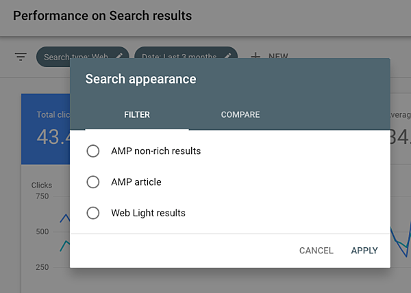 Seeing AMP performance in the search results