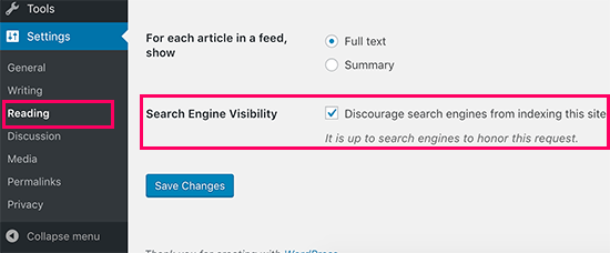 Discourage search engines from indexing a WordPress site