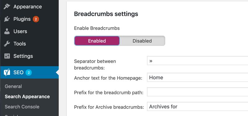 Enable breadcrumbs in Yoast