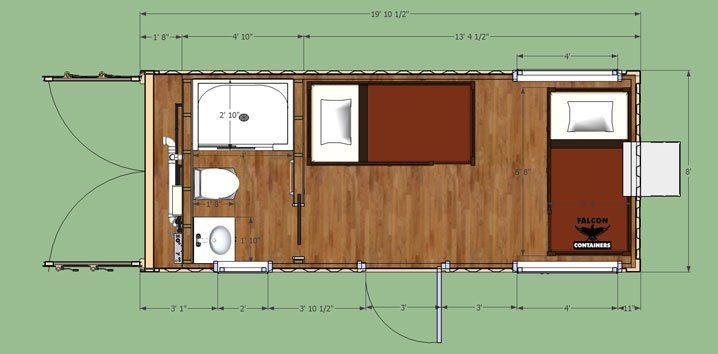 Shipping container home 20ft double bunkhouse - Foot shipping container home ...
