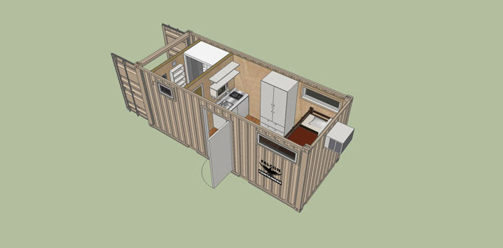 Shipping container home portable hunting cabin 20ft - Shipping container bathroom design ...