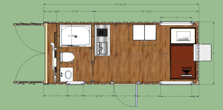 Shipping container home portable hunting cabin 20ft bunkhouse - Foot container home ...