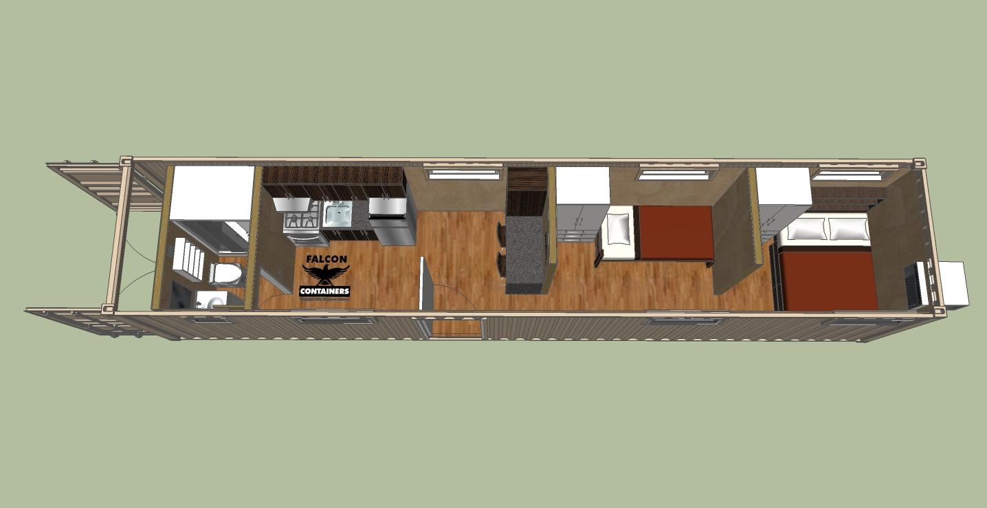 40 Cabin 2 Bedrooms 1 Bath Kitchen
