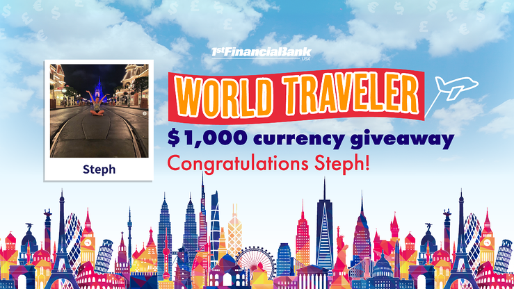 And the $1,000 World Traveler winner is...