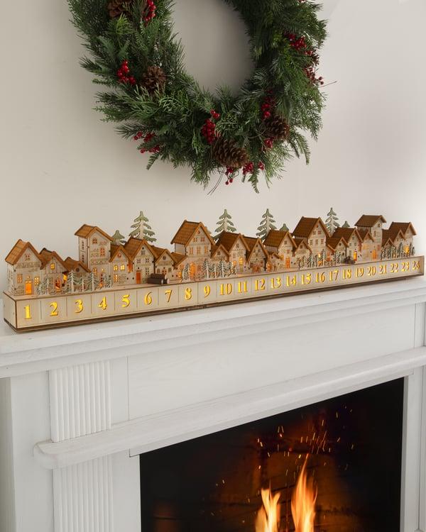 Wooden Christmas Village Advent Calendar