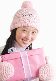 Girl with Present in Knitted Apparel Imported from China