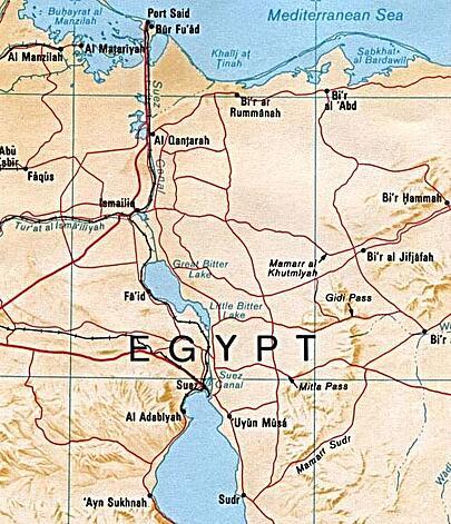 Suez Canal Map Public Domain