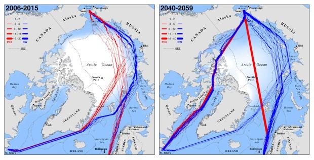 arctic shipping PNAS maps