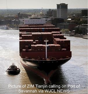 Big Container Ship Zim Tianjin
