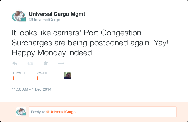 Port Congestion Surcharges Postponed