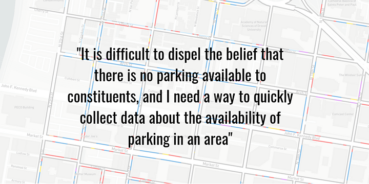 Quickly collect data about the availability of parking in an area