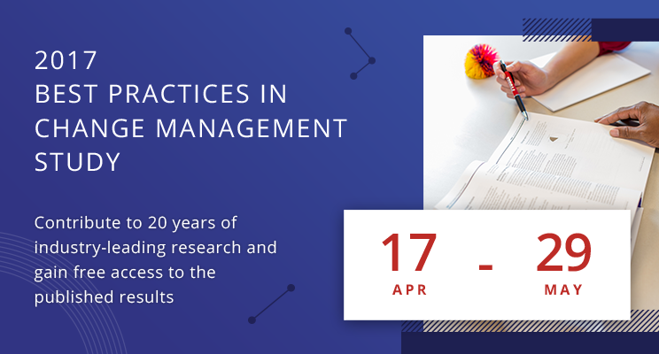Contribute to Prosci Change Management study and gain FREE access to the results