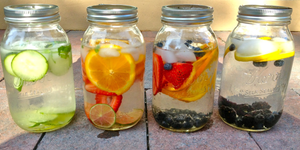 fruit infused water in mason jars