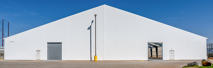 Tension fabric building, total white exterior