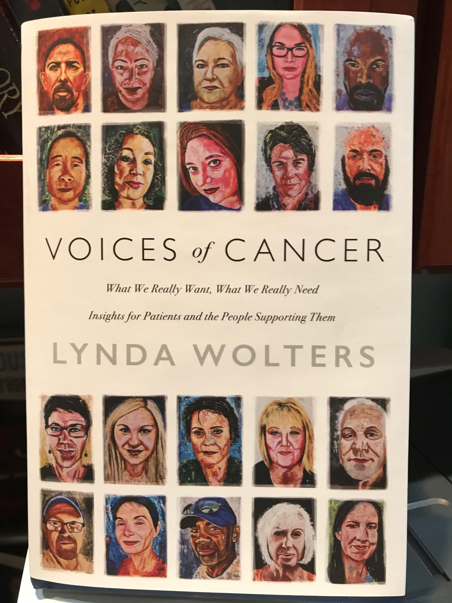 Picture of the cover of Voices of Cancer book by Lynda Wolters