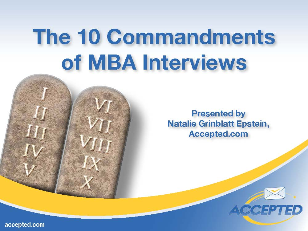 The 10 Commandments of MBA Interviews