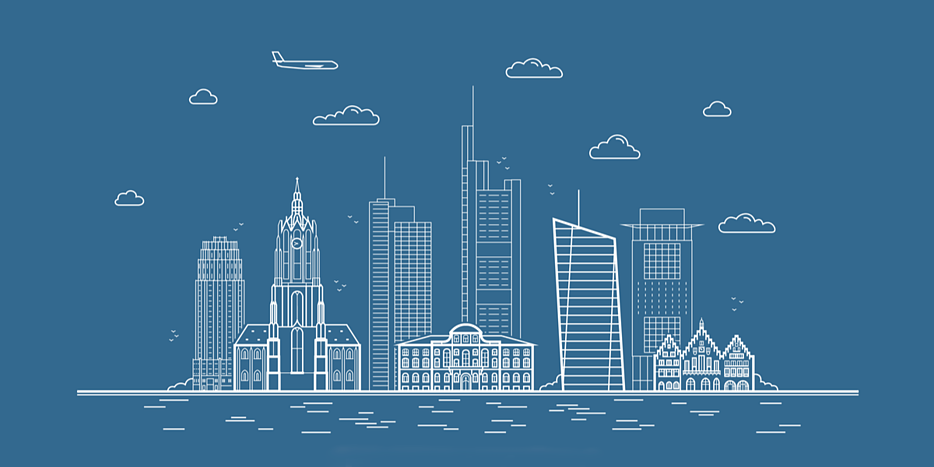 Line drawing of the skyline of the city of Frankfurt against a blue background