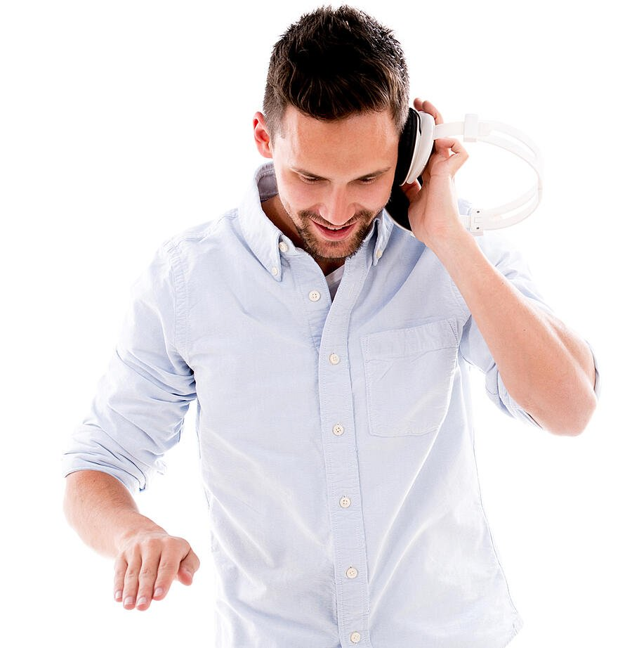 Male DJ with headphones - isolated over a white background