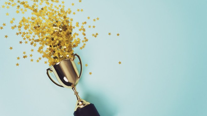 Trophy with star confetti shooting out of top IBM ranks in world's largest planning survey