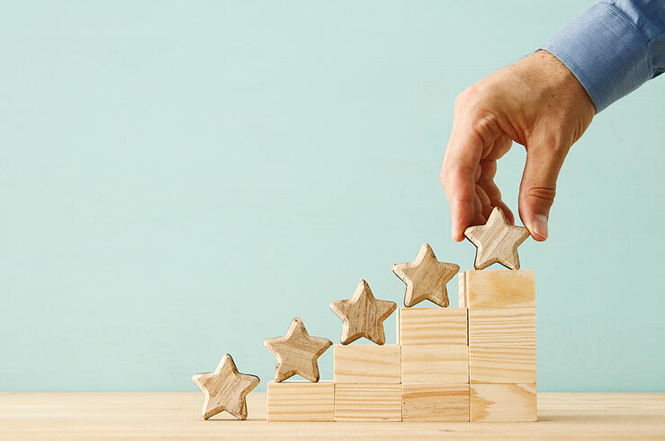 Building blocks with stars reflects IBM planning analytics receives high ranks from planning software users