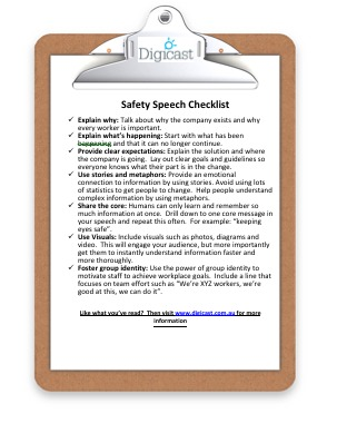 Safety speech checklist