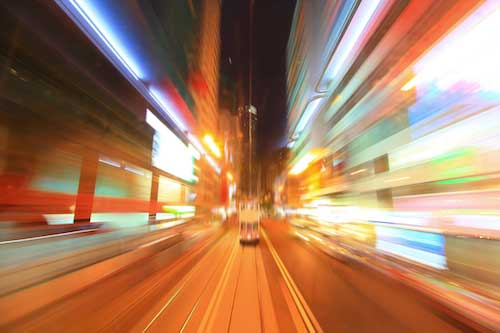 speed, driving fast through city, blurry, accelerate sales