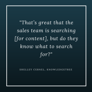 -That's great that the sales team is searching [for content], but do they know what to search for--