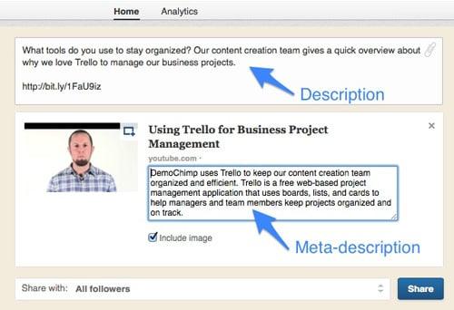 meta-description and description on linkedin