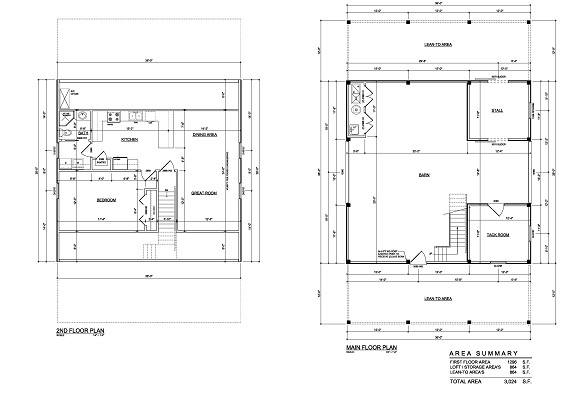 Horse Barn With Living Quarters Floor Plans: Floor Plans