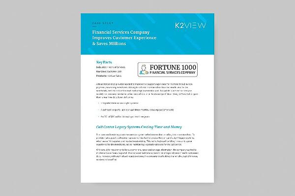 K2View at Fortune 1000 Financial Services Company