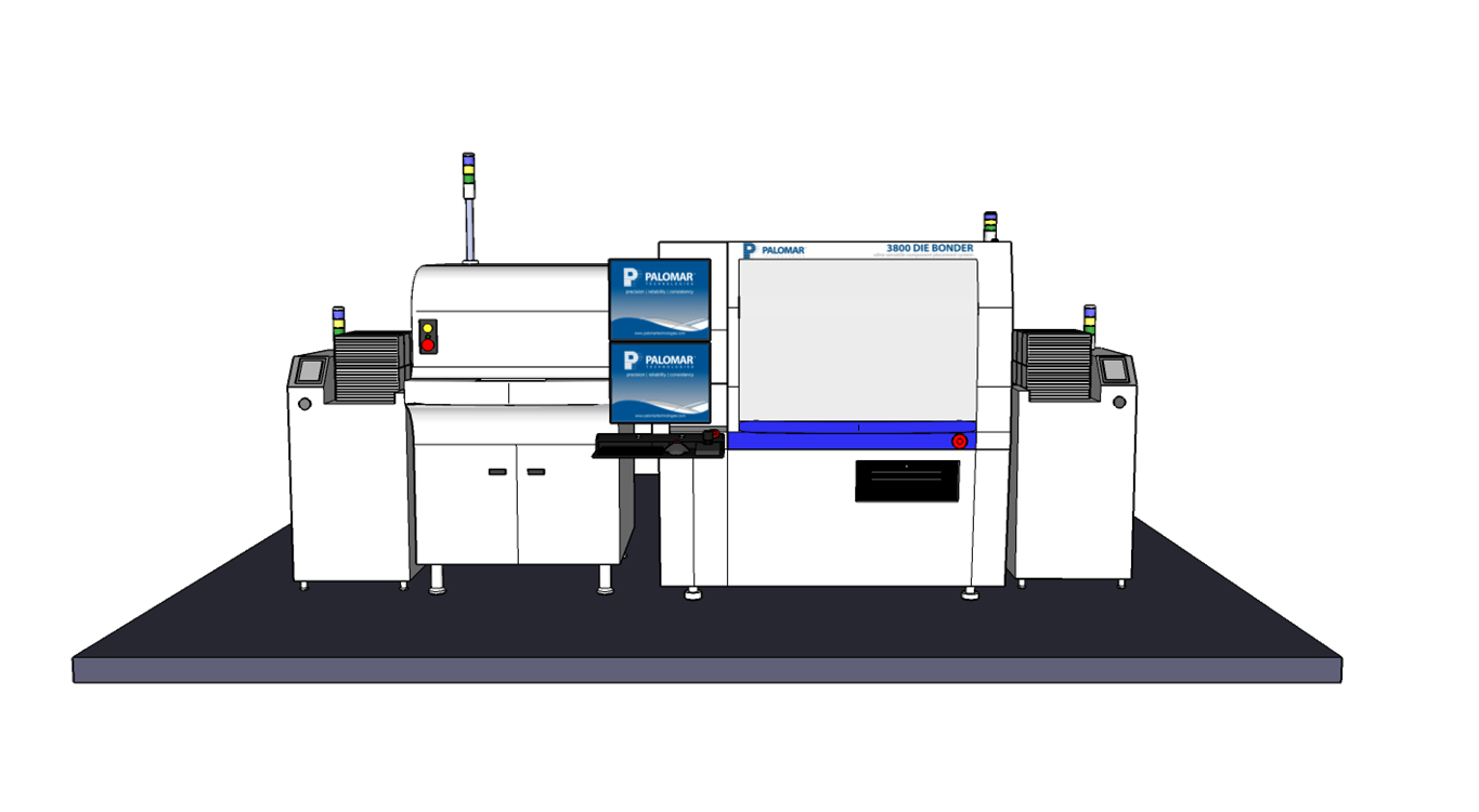 High-accuracy die attach production line with automated GPD epoxy dispense and magazine handlers.