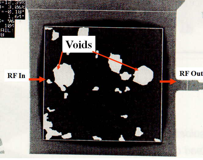 voids under high-frequency/high-power MMIC