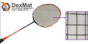 Badminton Racket Strung with CNT Yarn