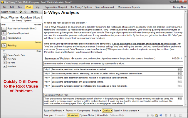 Quality Improvement Tools – 5 Whys Worksheet