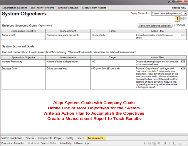 System Objectives Tool